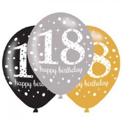 BALONY PREM. ,,HAPPY BIRTHDAY 18'', METALICZNE A'6