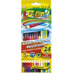 Kredki ołówkowe 12 szt 24 kolory