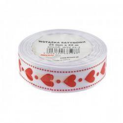 Wstążka satynowa biała w czerwone serduszka 12mm/22m